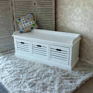 banc de rangement blanc avec 3 tiroirs hall unit caisse bois si ge coffre boutique chaussures. Black Bedroom Furniture Sets. Home Design Ideas