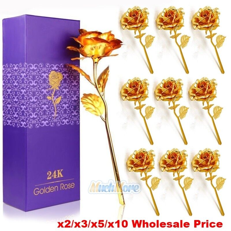 10Pack 24K Gold Plated Rose Flower Birthday Day Wedding Party Romantic Gift USA