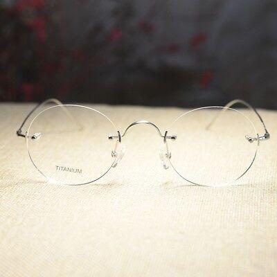 Titanium Round Steve Jobs eyeglasses rimless mens silver RX optical glasses](Steve Jobs Glasses)