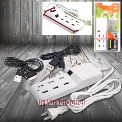 6FT Cable 6xUSB Socket Port Output Power Adapter + Cable P1000/ Micro USB Galaxy