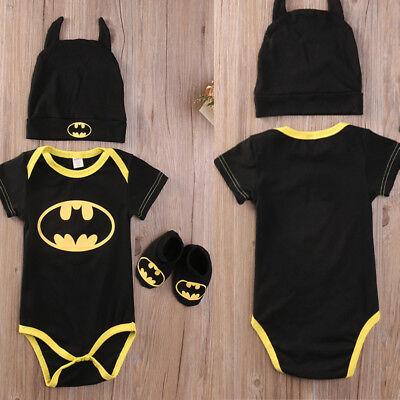 Baby Batman Outfit (New Baby Infant Cute 3Pcs Set Newborn Batman Outfits Romper+Shoes+Hat)