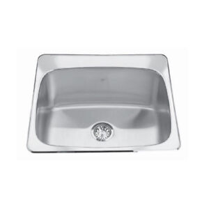 Kindred QSL2225/12 22 x 25 Single Bowl Laundry Sink 3 Holes