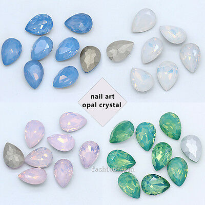 Opal color crystal glass point back teardrop rhinestone jewels Nail Art beads (Crystal Point Back Rhinestone)