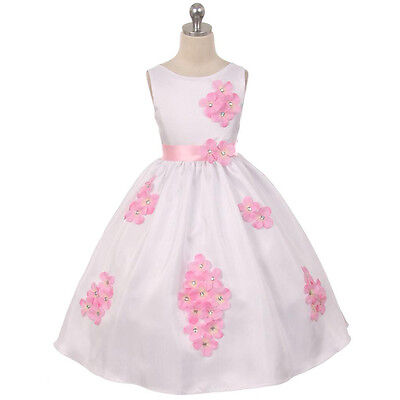 PINK Girl Dress Decorated Flower Petals Birthday Bridesmaid Wedding Dance Prom (Spring Dance Decorations)