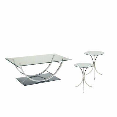 3 Piece Chrome End Table - 3 Piece Coffee Table Set with Set of 2 End Table and Coffee Table in Chrome