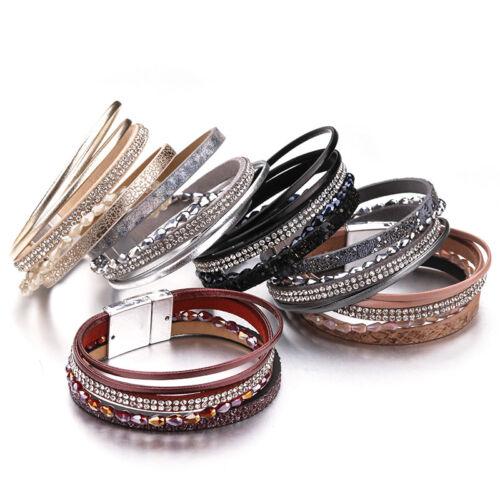 Trendy Women Multilayer Leather Crystal Resin Beads Magnet Wrap Charm Bracelet