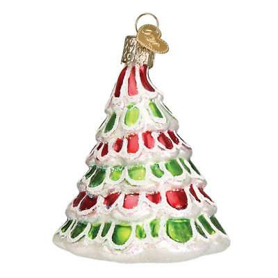 RED WHITE GREEN WHIMSICAL TREE OLD WORLD CHRISTMAS GLASS ORNAMENT NWT 48036