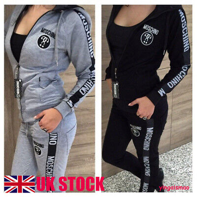 UK Women's Tracksuit Hoodies Sweatshirt Pants Sets Sport Wear Zipper Casual Suit