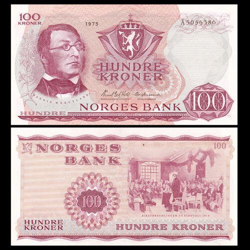 Norway 100 Kroner, 1973-1975, P-38, Banknote, UNC-