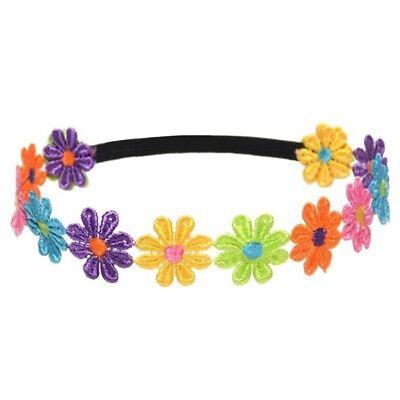 Kinder bunte Sonnenblumen Stirnband Haarband Kopfband mit schwarzem elastis J1C5