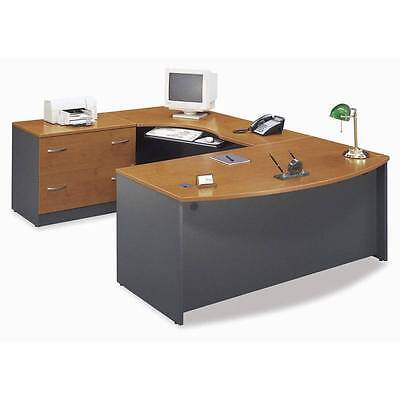 Executive Bow Front U-shaped Desk With Keyboard Tray Natural Cherry Finish