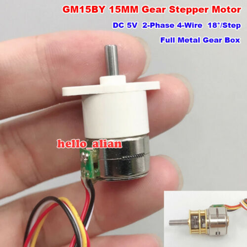 Micro 15BY 15MM 5V 2-Phase 4-Wire Gear Stepper Stepping Motor Full Metal Gearbox