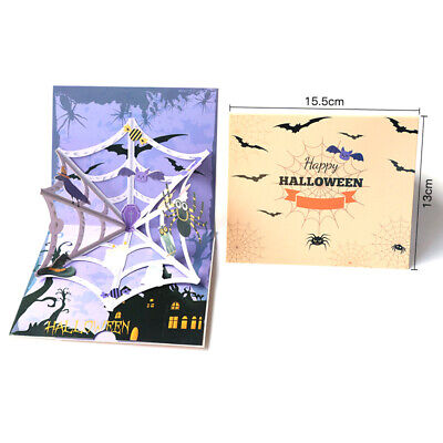 Diy Halloween Greeting Cards ( 3d Pop up Halloween Horror spider Stereo Greeting Card Funny Children)