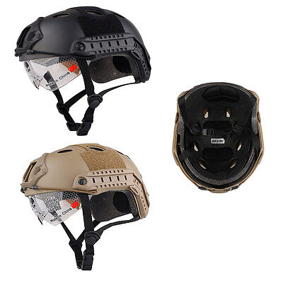 Military Tactical Gear Helmet & Goggles Airsoft Paintball SWAT Protective Cap US