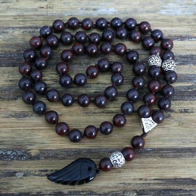 Rosario Collar de Cuentas Natural Piedra Negra 8MM Joyería Con Colgante