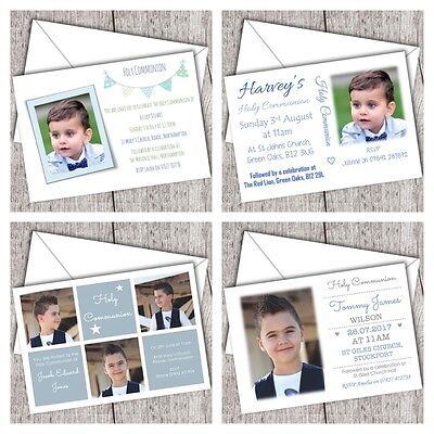First Holy Communion Invitations ~ Personalised ~ Photo ~ Boy (DD1) - First Communion Photo Invitations