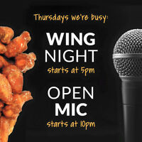 Open mic & wing night, every Thursday @ Rockbottom Brewpub