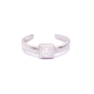 925 Sterling Silver Toe Ring Square Cubic Zirconia CZ Jewelry Adjustable