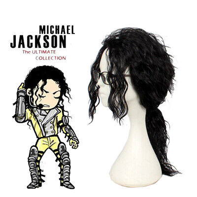 Michael Jackson Men's 45cm Medium Long Curly Fulffy Black Cosplay Wig +a Wig Cap](Michael Jackson Wig)