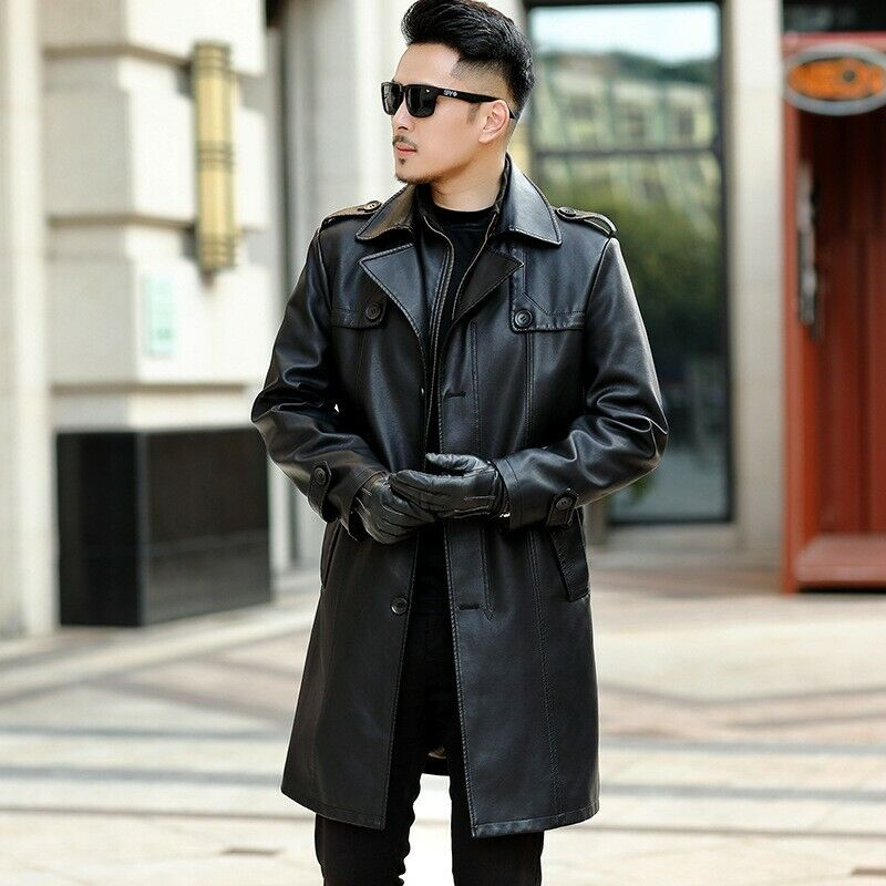 Womens Jacket Windbreaker Full Length hot Trench Long Lapel Leather Coat OutweaR
