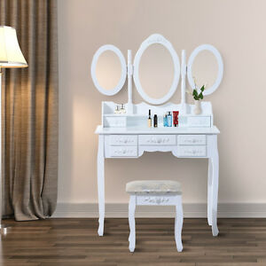 Vintage Makeup Vanity Set w/ 3 Folding Mirrors & Stool – White