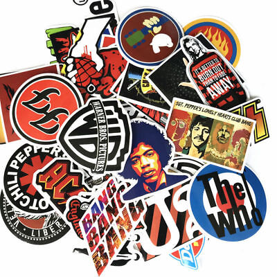 Home Decoration - 52pcs/lot Retro Rock Band Music Sticker For Guitar Suitcase Skateboard DIY Decal
