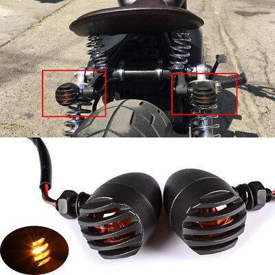 Universal Motorcycle Black Grill Amber Halogen Turn Signal Light Indicators Lamp