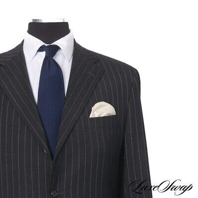 BIG GUYS Raffaele Caruso Sartoria Parma Charcoal Pinstripe 3B 2V FF Suit 58 NR
