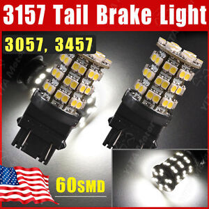 2pcs Xenon White 3157 60-SMD LED Tail Brake Stop Light bulbs 3057 3457 4157 3047