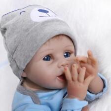 "Boy Doll Baby Lifelike 22"" Handmade Newborn Reborn Vinyl Clothes Silicone Blue"
