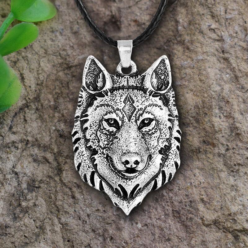 Retro Mens Tibetan Silver Mens Wolf Head Pendant Necklace An