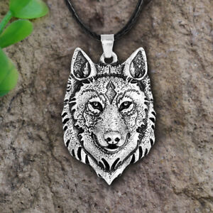 Tibetan Silver Wolf Head Pendant Necklace Amulet Animal Viking Men Gift Jewelr
