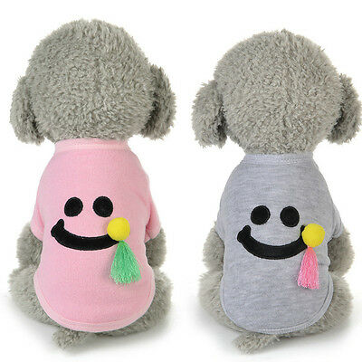 Winter Warm Cat Dog Pet Clothes Cute Smile Costume Pullover Coat Apparel Pajamas