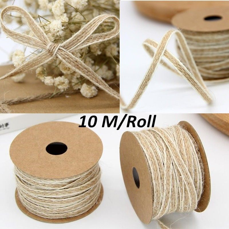 25mm Hessian Ribbon Red 10m Roll