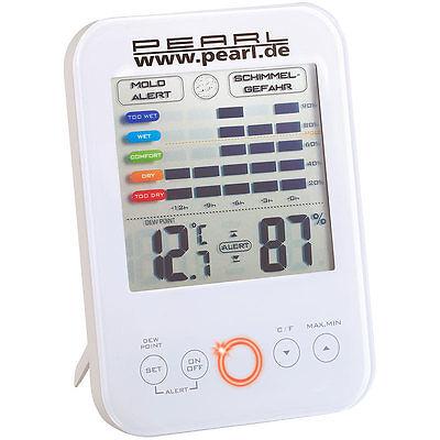 PEARL Digital-Hygrometer/Thermometer mit Schimmel-Alarm