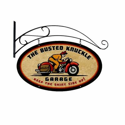 "BUSTED KNUCKLE GARAGE BIKE RIDER 24"" DOUBLE SIDED HEAVY DUTY USA MADE METAL SIGN"