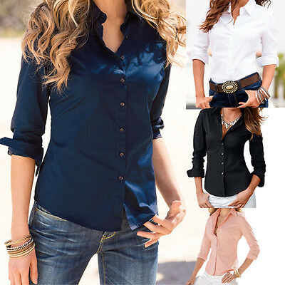 Turn Down Collar 2016 Women Slim Long Sleeve Blouse Formal Ladies Office Shirts