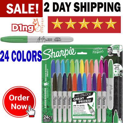 Sharpie Permanent Paint Pens Markers Fine Point Metal 24 Multi Colors Pack New