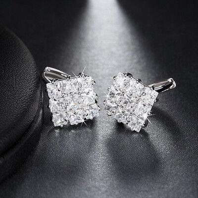 Elegant Women CZ Crystal Hoop Huggie Earrings Paved Cubic Zirconia Jewelry KATE