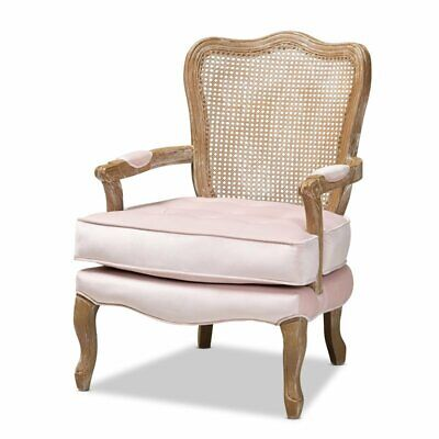 Used, Baxton Studio Vallea Light Pink Velvet Fabric and Oak Armchair for sale  Sterling