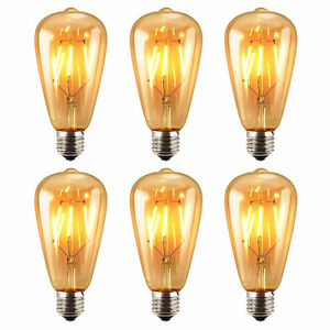 Pack of 6 LED Edison Bulb, 6W ST64 Vintage Antique Dimmable