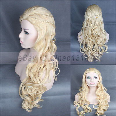 2-6 Days US Ship Cosplay Wig Game of Thrones Daenerys Targaryen Braids Blonde, used for sale  Charlotte