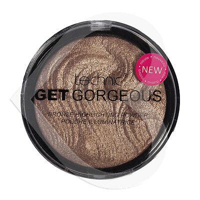 Technic Get Gorgeous Bronzing Bronze Powder 12g Face Highlighter Shimmer Compact