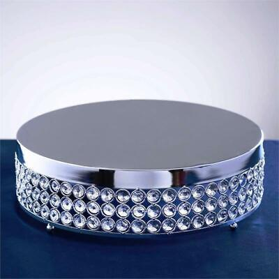 "13.5"" wide Silver Metal Cake Stand with Crystal Beads Wedding Birthday Events"
