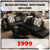 SALE - Black sectional with accent chair