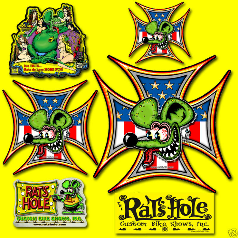 Rat Pack Sticker Collector 6 pack Rats Hole Bike Show
