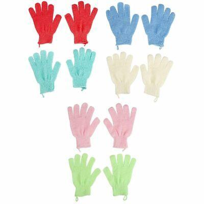 6-Pair Exfoliating Bath Gloves w/ Hanging Loop for Shower Body Scrub Spa Massage ()