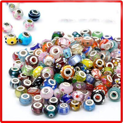 Charms For Bracelets Wholesale (50Pcs Wholesale Lots Bulk Murano Glass Beaded Charms Spacer Beads For)