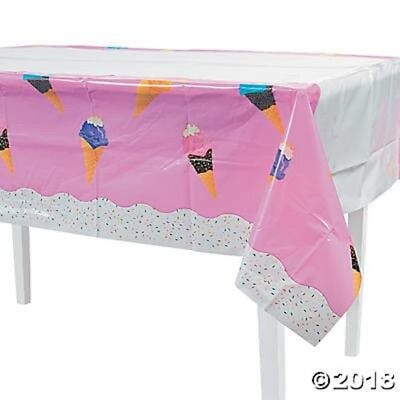 Ice Cream Tablecloth Table Cover Kids Circus Carnival Birthday Party Decoration  - Ice Cream Decorations