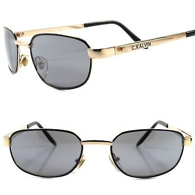 C.KALVIN - Genuine Vintage 80s 90s Urban Fashion Mens Gold Rectangle Sunglasses